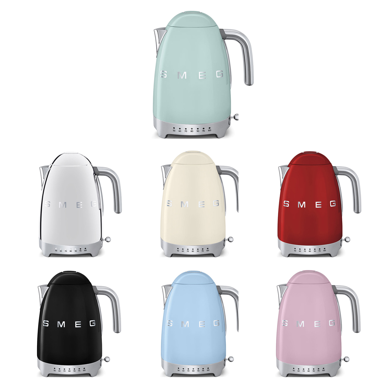 Smeg kettle variable temperature in different colours