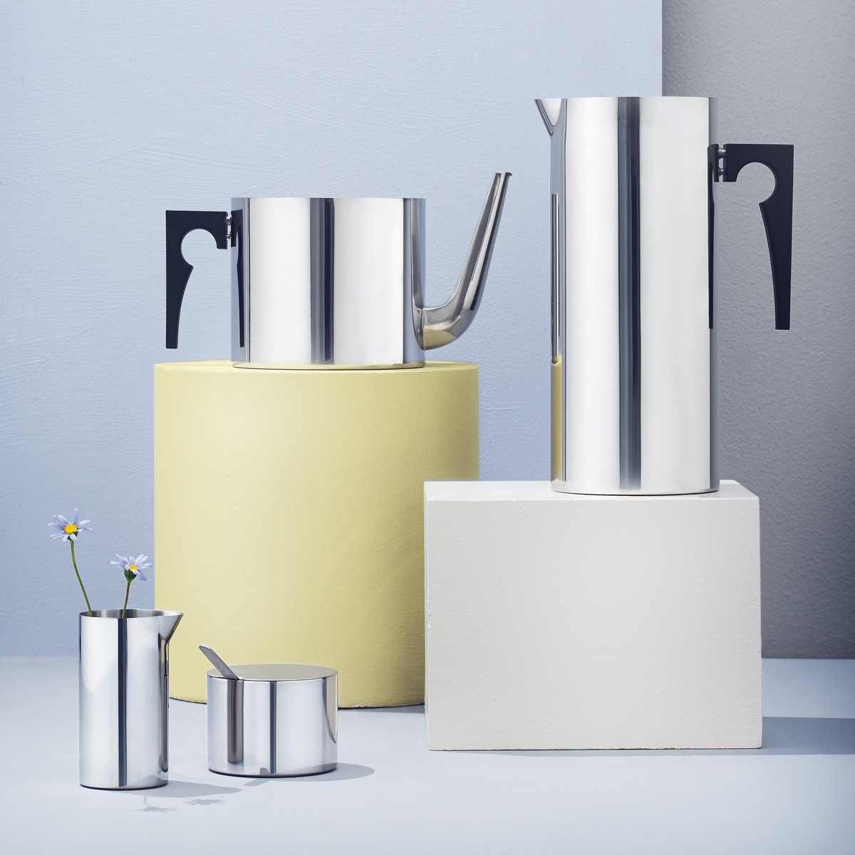 Stelton - Kitchenware Cylinda Tea pot, ice stopper jug, milk and sugar bowl in stainless steel