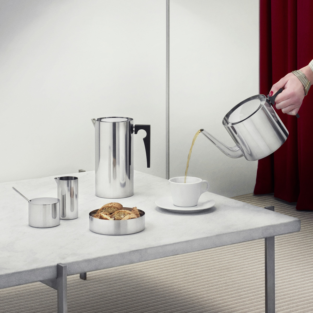 Stelton - Kitchenware cylinda, press coffee pot, tea pot, bread tray, milk jug and sugar bowl in stainless steel