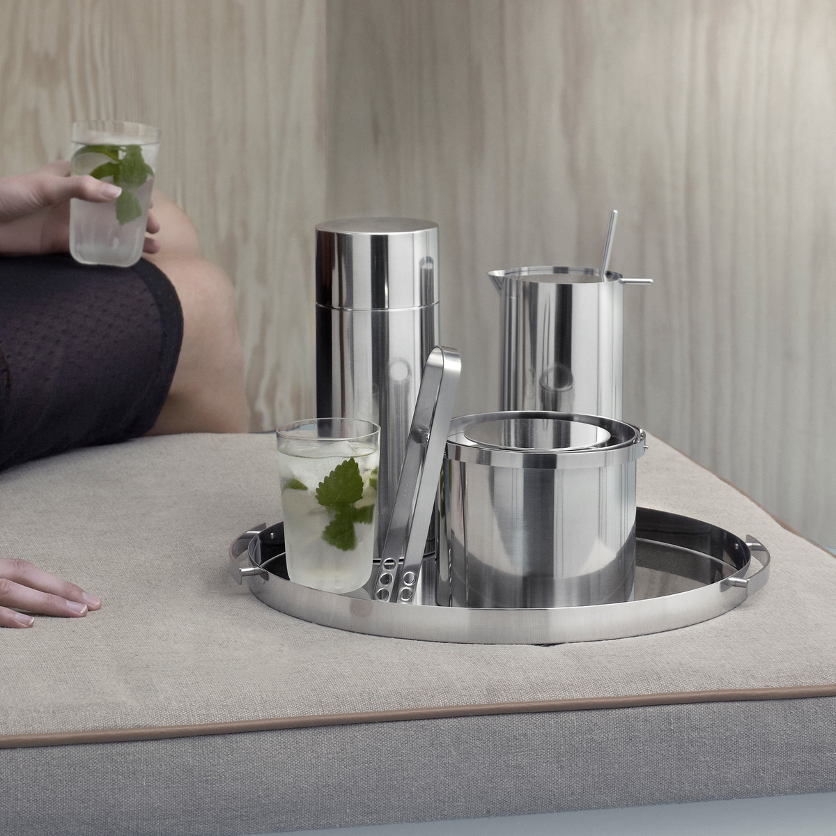 Stelton - Cylinda Cocktail Shaker, Cocktail Shaker with Spoon, ice Bucket, ice tongs and serving tray