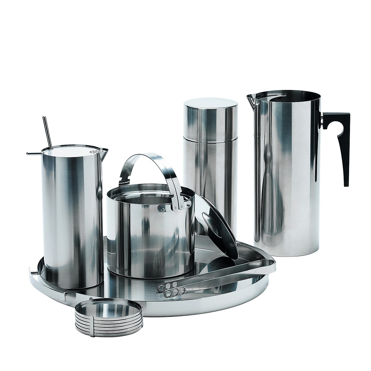 Stelton - Cylinda Cocktail Shaker with spoon, ice bucket, ice tongs, coasters, serving tray stainless steel 2