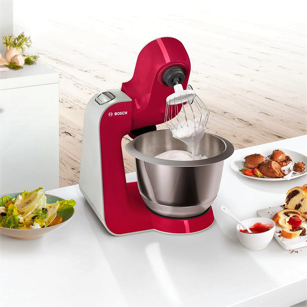 Bosch - Kitchen Machine MUM5 Styline Colour red diamond silver 3