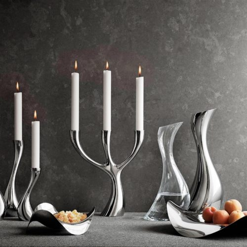 Georg Jensen - Cobra Pitcher Stainless Steel, Candle Holder Three-armed, Tray, Oval Tray & Carafe Glass 2