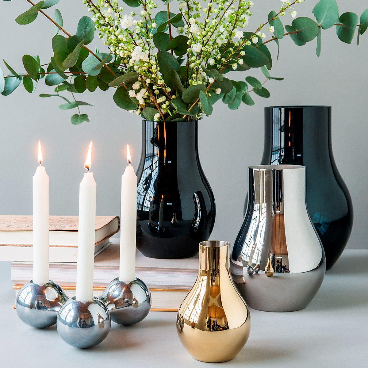 Georg Jensen - Cafu Collection Vase Glass, Stainless Steel & Gold plated and Candle Holder