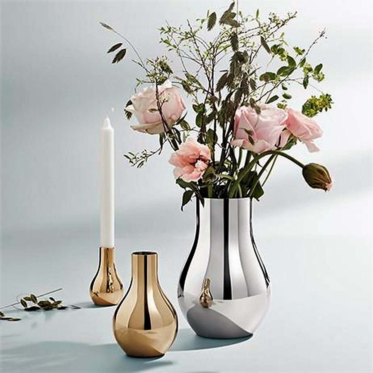 Georg Jensen - Cafu Collection Vase Stainless Steel & Gold plated