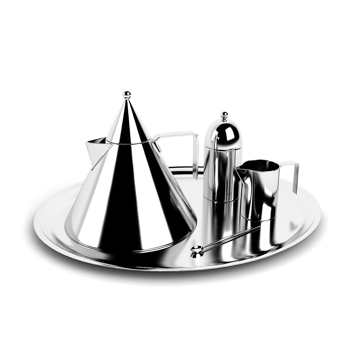 Officina Alessi - Aldo Rossi Kettle Il Conico, Rossi Sugar Bowl & Rossi Creamer Stainless steel 2