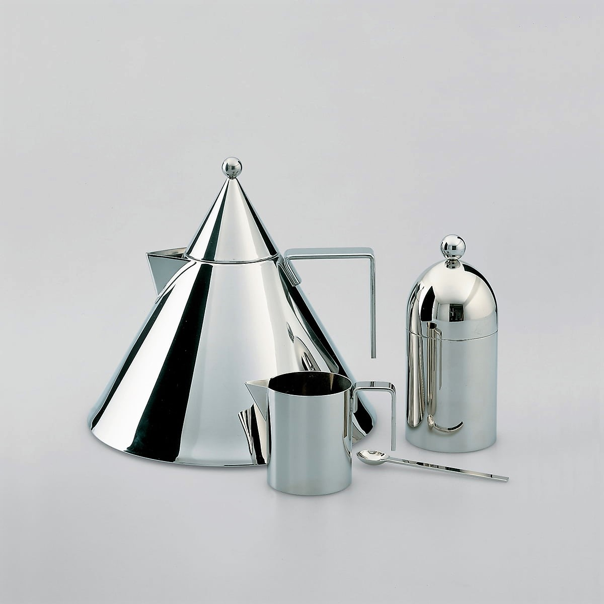 Officina Alessi - Aldo Rossi Kettle Il Conico, Rossi Sugar Bowl & Rossi Creamer Stainless steel