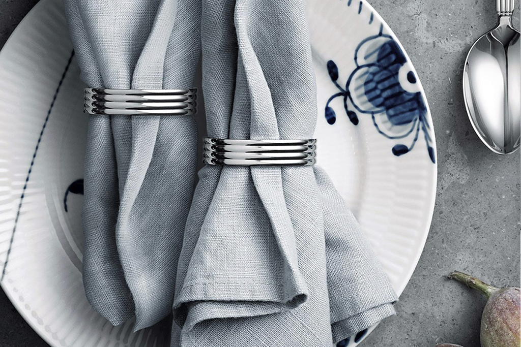 KitchenSpain Bernadotte Napkin Rings in stainless steel