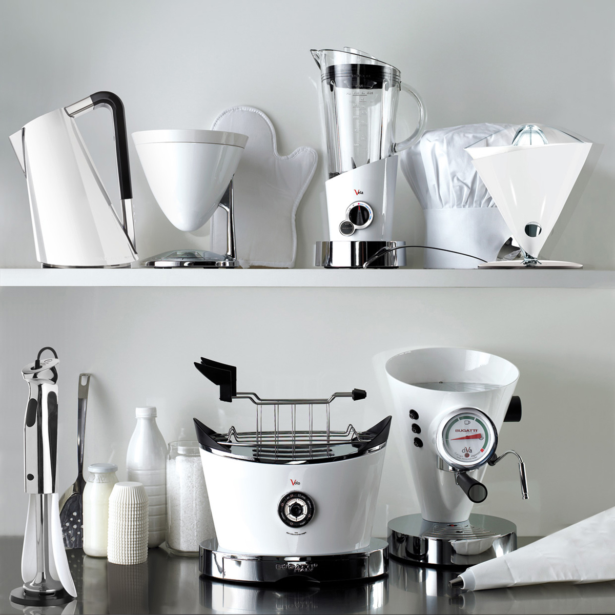 Bugatti Kitchen Appliances Coffee Machine, Toaster, Beater, Juicer, Blender, Scale, Timer and Kettle in White Colour