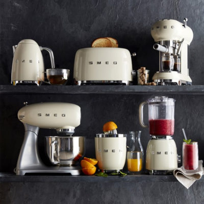 Smeg Kitchen Appliances Kettle, Toaster, Coffee Machine, Kitchen Machine, Mixer, Juicer and Blender in cream colour