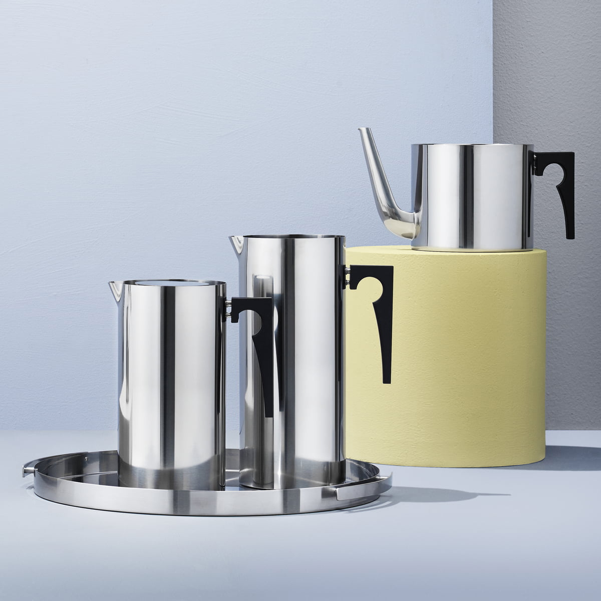 Stelton Cylinda Collection Coffee Pot, Jug and Ice stopper jug in stainless steel